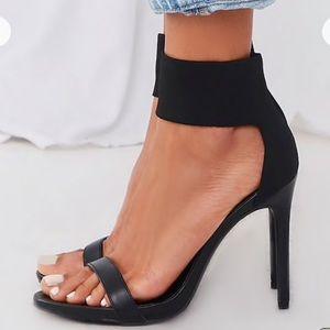 Black Stiletto Heels w/ Black Ankle Cuff - Sz 10